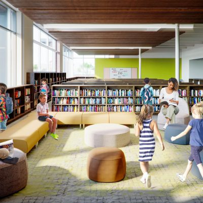 Interior of West Broadway Elementary library. (Rendering by Luckett & Farley)